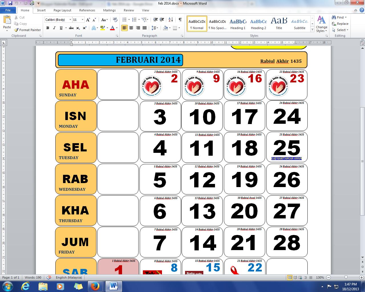 Download Kalender Kuda - Februari 2014