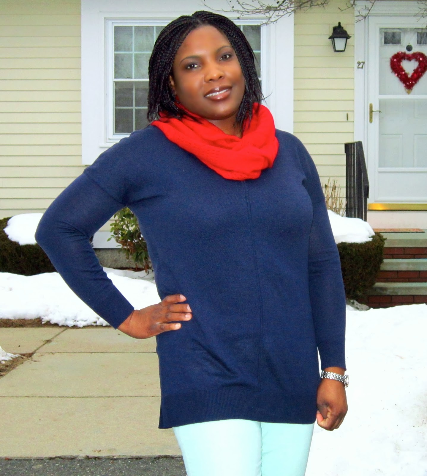 Navy and mint, Red and Navy, red infinity scarf