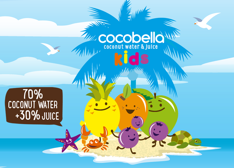 Cocobella Kids coconut water + juice cartoon.