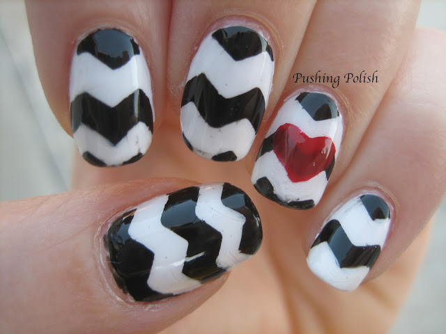 Black & white chevron heart nail art