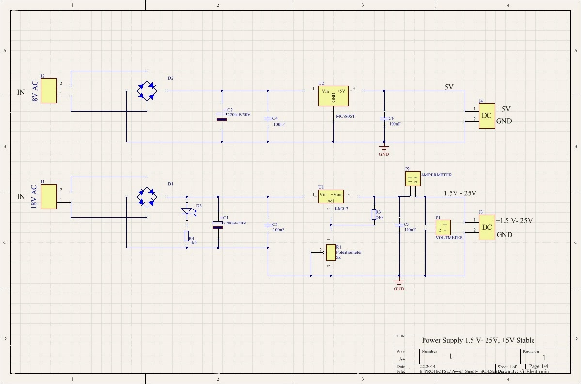Power Supply 12 25v Lm317 Electronic Computer Variable Using 7805 Schematic