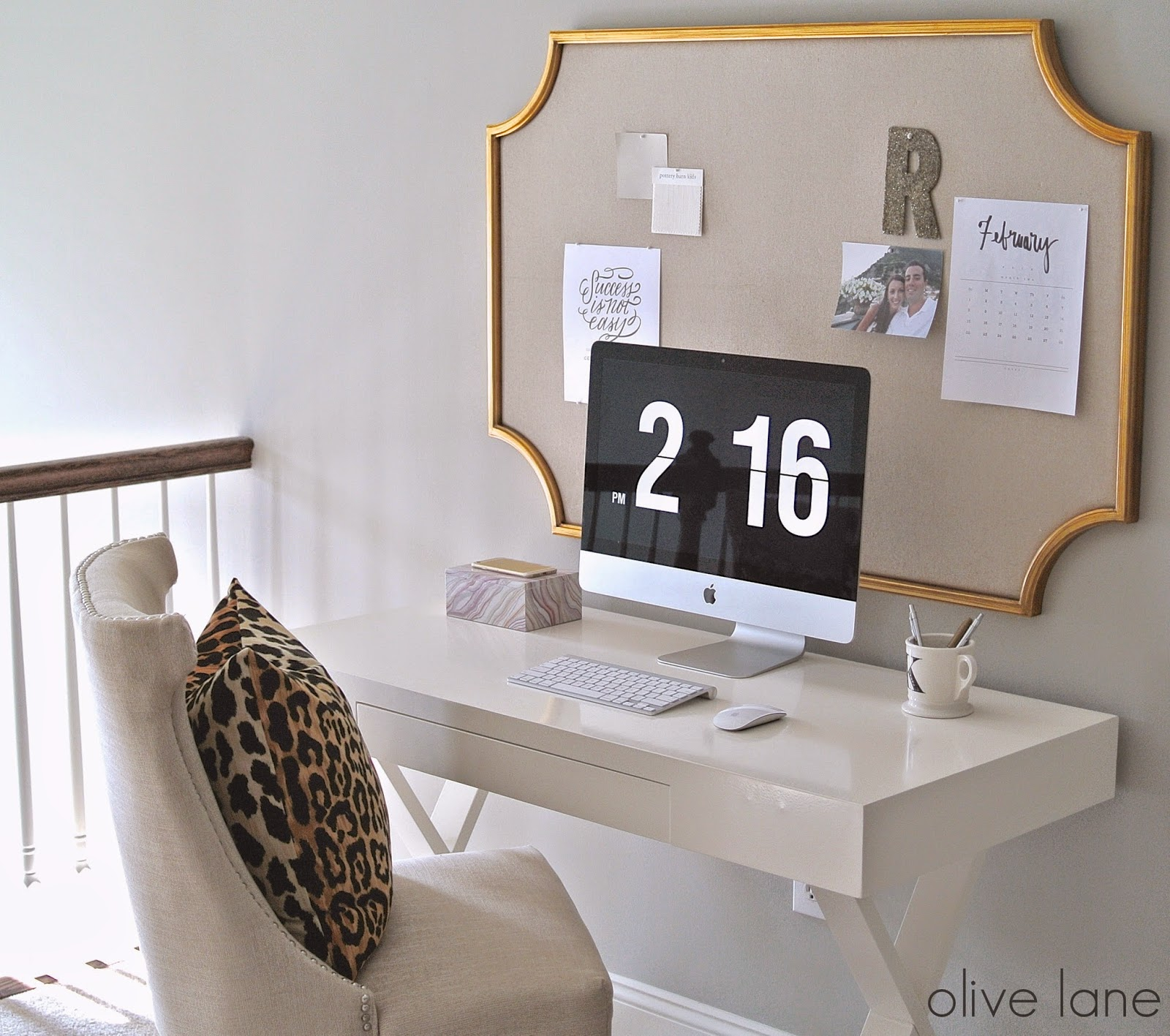 Feminine Home Office Update White and Gold Leopard www.olivelaneinteriors.com