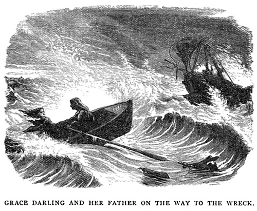 Grace Darling and her father on the way to the wreck