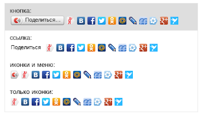 Кнопки Яндекс Поделиться