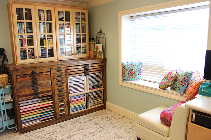 Craft room studio makeover remodel Samantha Walker blog Hamilton printers cabinet for craft storage