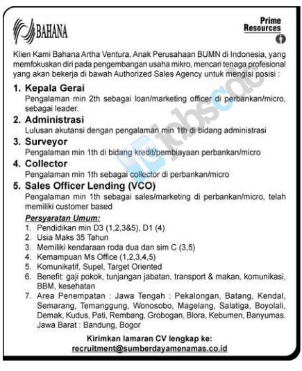 PT Bahana Artha Ventura - Recruitment Head, Admin, Surveyor, Collector