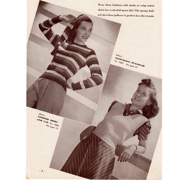 Vintage Stripe Pullover Sweater and Easy Vest Knitting Pattern