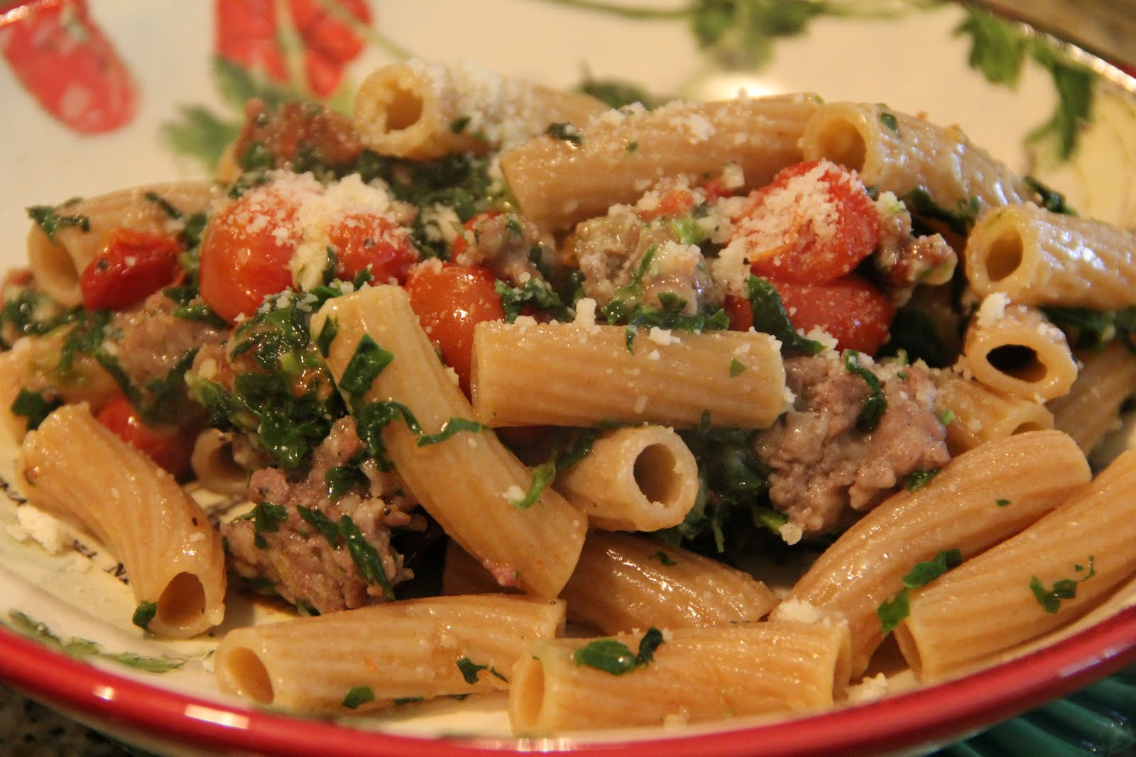 linguine with roasted bell peppers chicken sausage spinach and feta ...