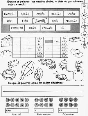 Atividades com ÃO, alfabetização, anos iniciais,ortografia,atividades para imprimir.