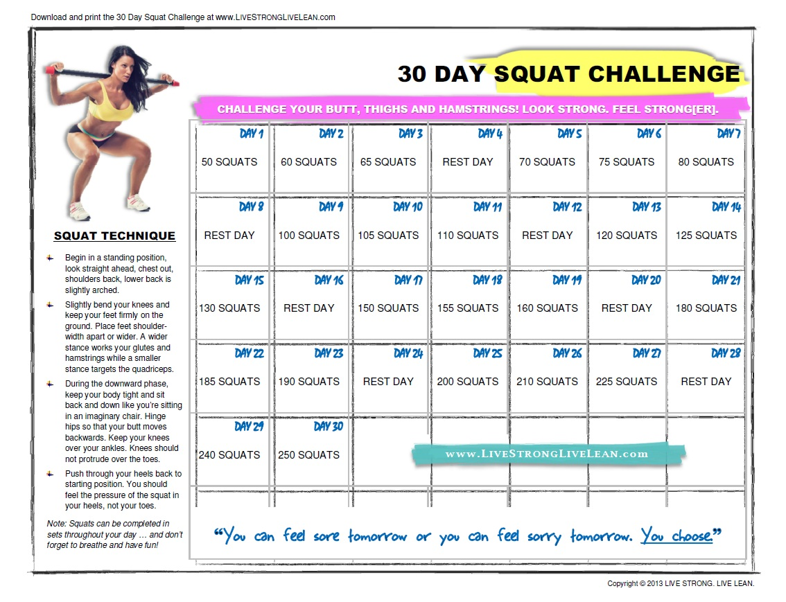 30 Day Squat Challenge Results http://sophieandmomma.blogspot.com/2013/05/anyone-up-for-squat-challenge.html