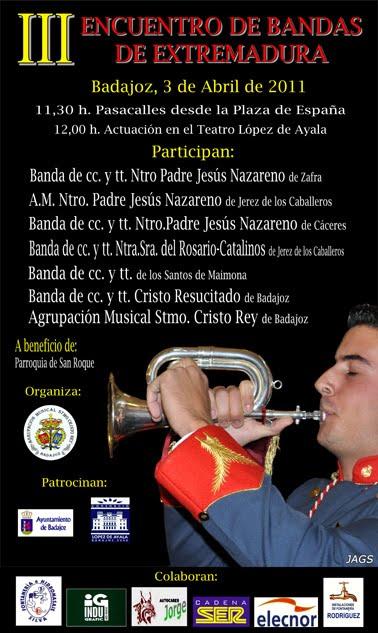 Cartel III Encuentro de Bandas de Extremadura