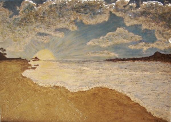 Cuadros con textura aprender manualidades es - Cuadros hechos con piedras de playa ...