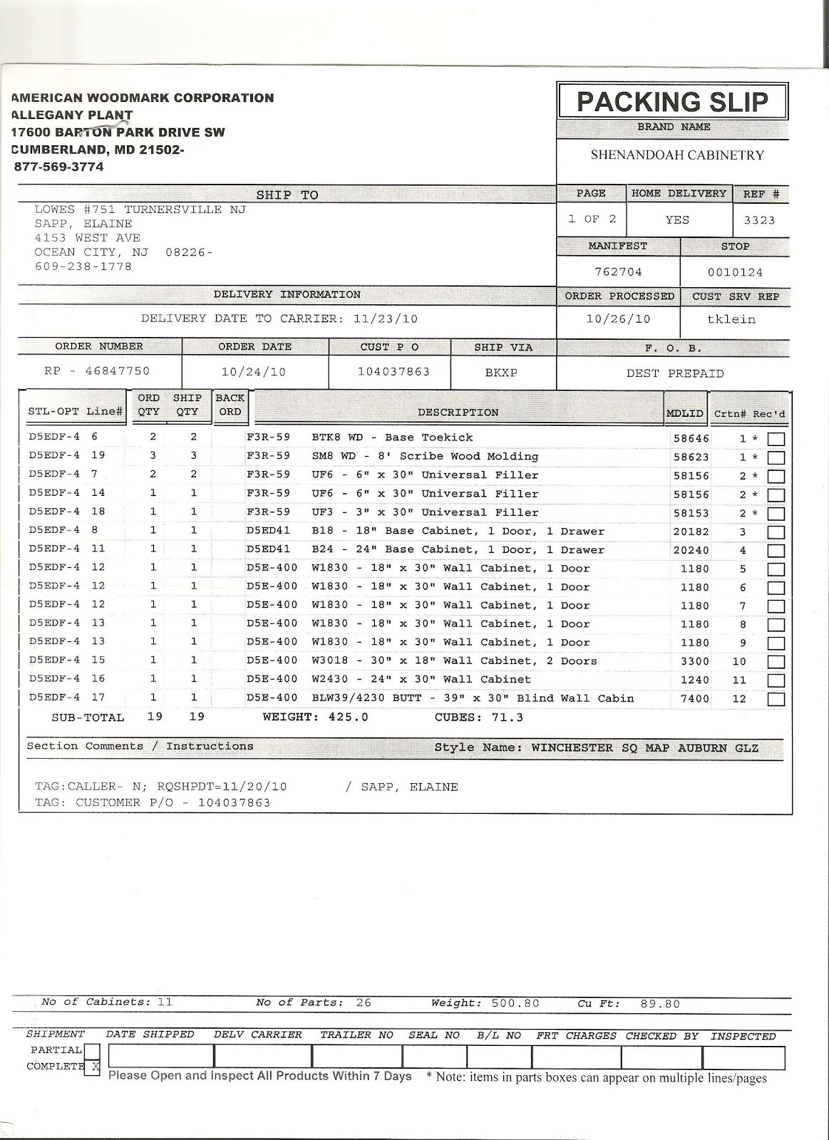 Kitchen CabiInstall Invoice