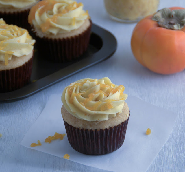 Apple Cider Cupcakes filled with Fuyu Persimmon Curd and frosted with Fuyu Persimmon Swiss Meringue Buttercream www.pineappleandcoconut.com