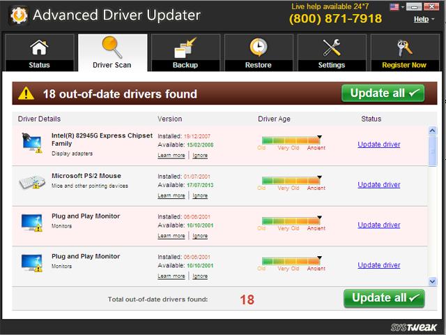 صوربرنامج لتحديث تعريفات الكمبيوتر Advanced Driver Updater