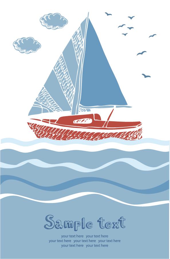 シンプルなヨットの背景 Summer beach sailboats イラスト素材