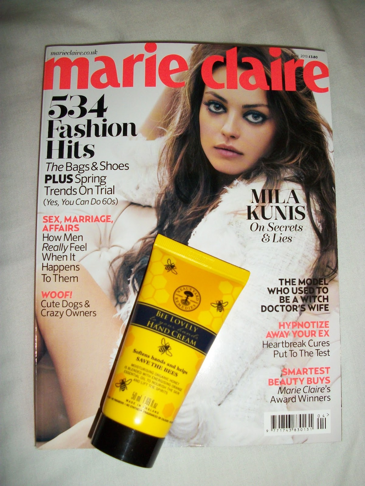 april, cosmopolitan, elemis, freebies, glamour, january jones, magazine, marie claire, mila kunis, neals yard, percy and reed, zooey deschanel,