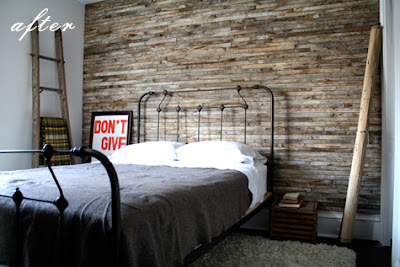 The one above appears to be clean aged slats while the - Wooden pallet accent wall ...