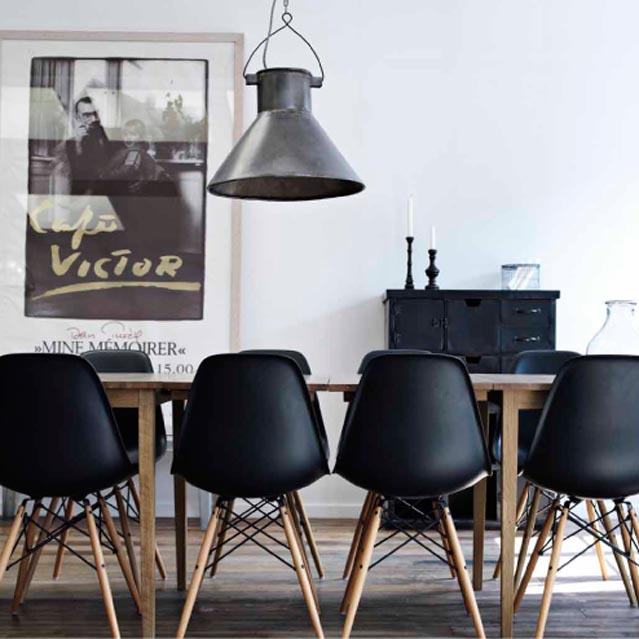 Eames chairs emma louise layla for Black dining room chairs
