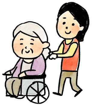 車椅子に乗ったおばあさんのイラスト(介護)