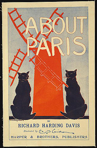 advertising, book poster, cat, vintage, vintage posters, retro prints, classic posters, graphic design, free download, french poster, paris, About Paris, by Richard Harding Davis - Vintage Book Poster