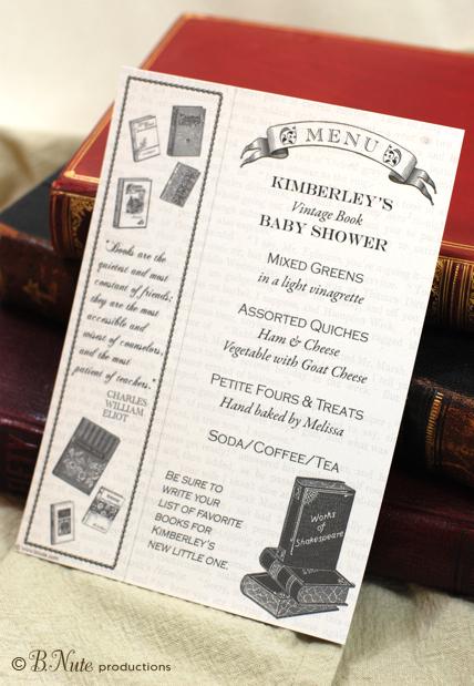 Free Printable Book Party Menu And Bookmark