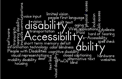 word cloud of words: ability disability PwDs Pwd People~with~Disabilities e-Accessibility physical-access transportation, public~access, housing, IT, information~technology hardware software Web~applications websites aging visual~disability blind limited~vision vision color~blindness hearing~disability, deaf, hard~of~hearing, visual~representations, closed~captioning, transcripts mobility~disability voice~input cognitive~disability dyslexia short~term~memory~deficit inclusion inclusive~communications people~first~language alt~text alternative~text text~links spell~check Accessibility