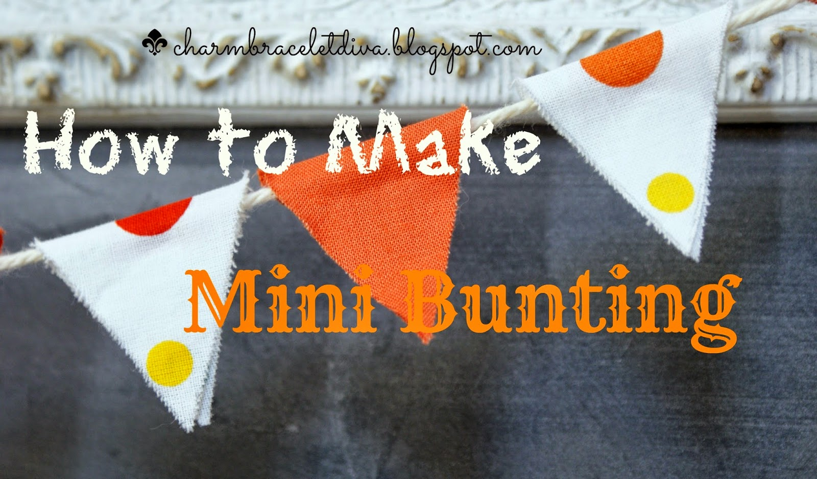 mini bunting in polka dot and solid orange fabric