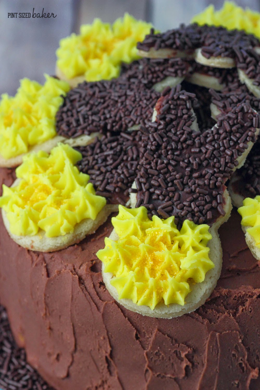 Get your kids into the kitchen and have them help you make this Peeps Bunny Cookie Sunflower Cake