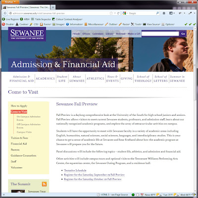 Screen shot of http://admission.sewanee.edu/visit/sewanee-fall-preview.