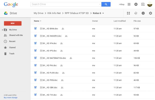 RPP dan Silabus KTSP SD Kelas 1 2 3 4 5 6 di Google Drive