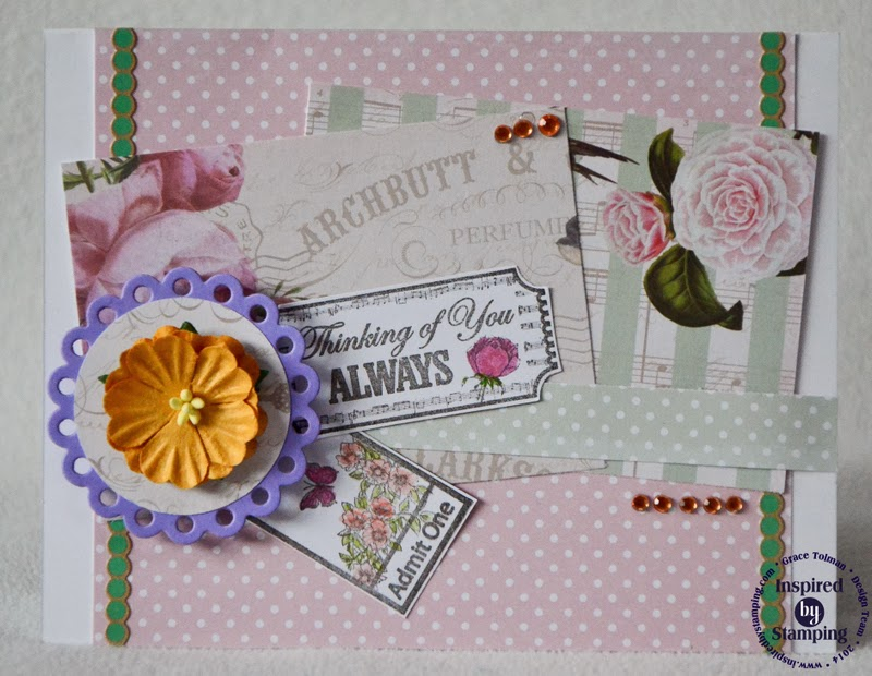 Inspired by Stamping, Grace Tolman, Vintage Tickets Stamp Set, Vintage Floral Paper, Thinking of You Card