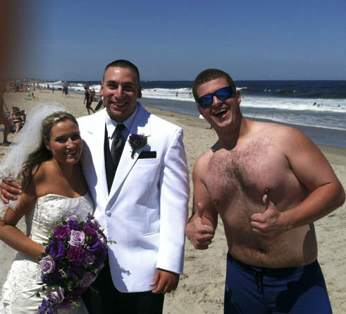 Noah Carpenter With Newlyweds At Manasquan, Jersey Shore
