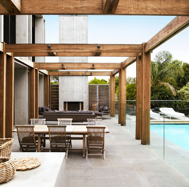 Modern terrace with wooden furniture