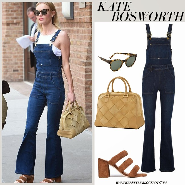 Kate Bosworth in blue denim flare overalls Frame Denim in eton avenue with brown sandals and brown bag new york april 16 want her style