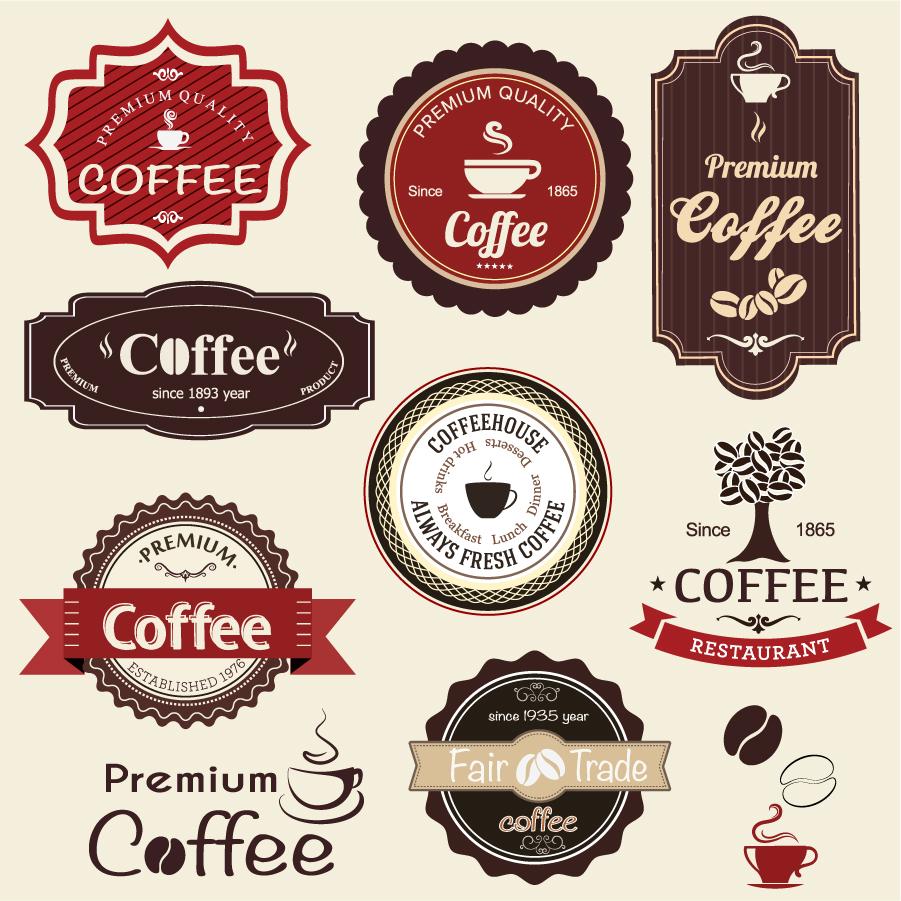 レトロな珈琲ラベル retro revival sign coffee label イラスト素材