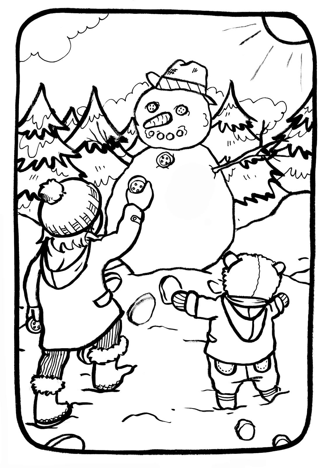 Marion de castillon coloriage du mercredi le bonhomme de neige - Coloriage de neige ...