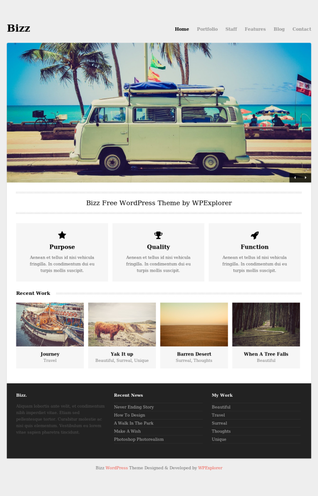 Bizz Free Portfolio WordPress theme