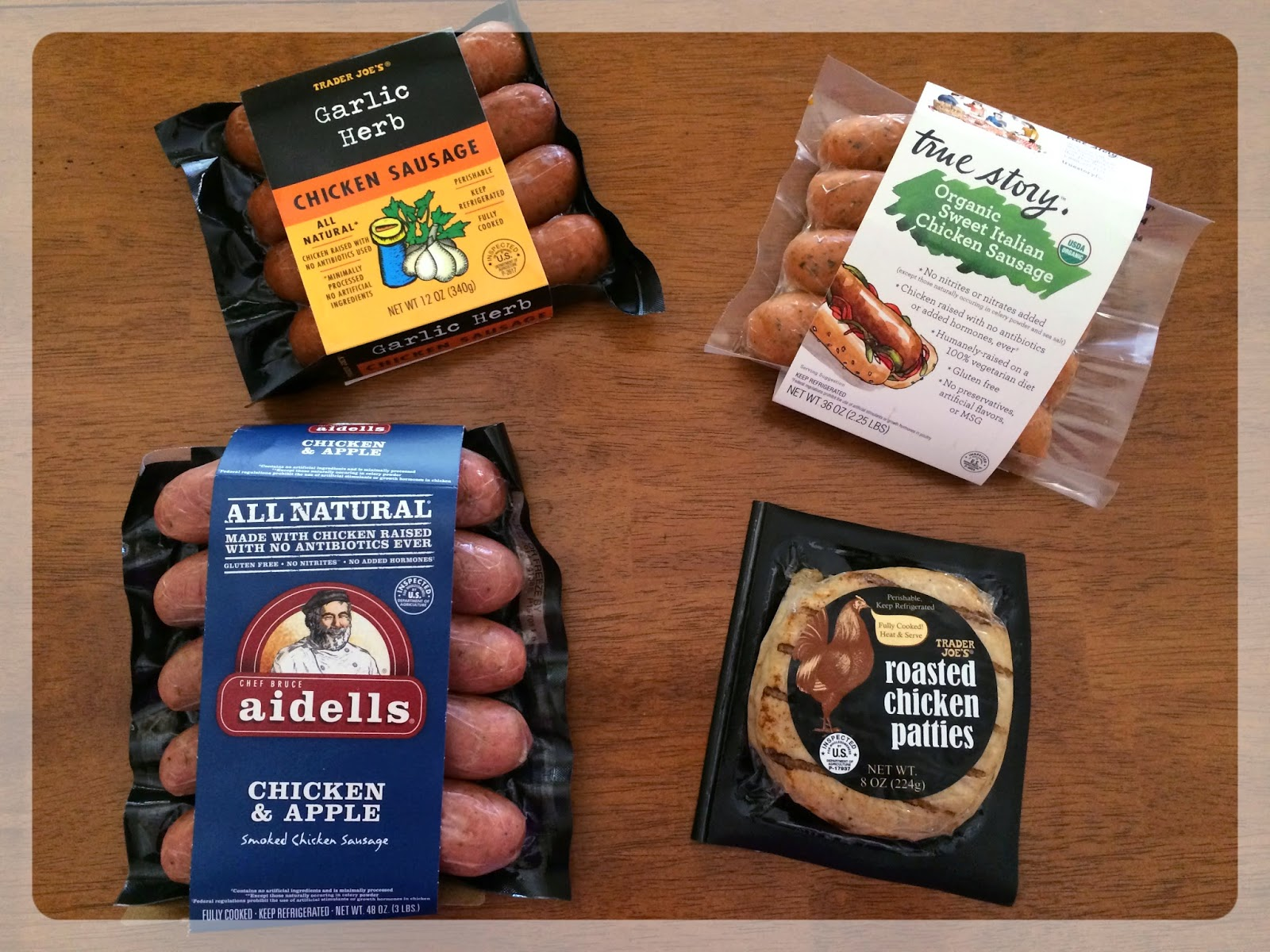 Trader Joe's Garlic Herb Chicken Sausage: Great savory flavors perfect for breakfast on its own or scrambled with eggs, or grilled & served over salad for ...