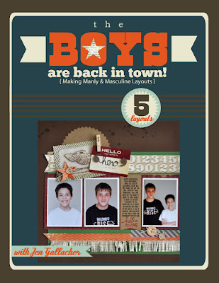 The Boys are Back in Town: Masculine Scrapbooking Ebook by Jen Gallacher http://jen-gallacher.mybigcommerce.com/the-boys-are-back-in-town-masculine-scrapbooking-ebook/