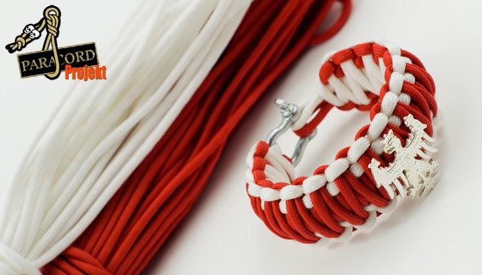 Bransoletka z paracordu PATRIOTYCZNA biało-czerwona z Orłem