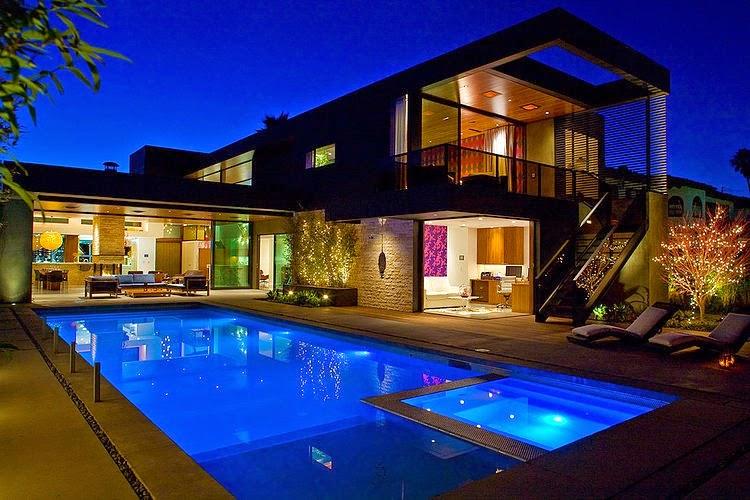 Hogares frescos moderna casa de dos pisos con piscina en for Plantas de casas modernas con piscina