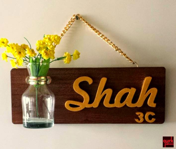 quirkitdesign_nameplate_wooden_flowers_home_decor_DIY_quirky_gold