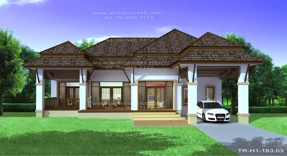 Tropical One Story Design Ideas, Tropical Style house 3 bedrooms, 2 ...