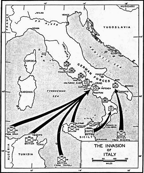 Harta planului de invazie aliata in Italia de Sud