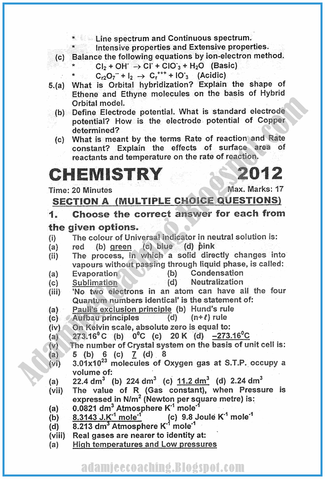 chemistry-2012-past-year-paper-class-XI