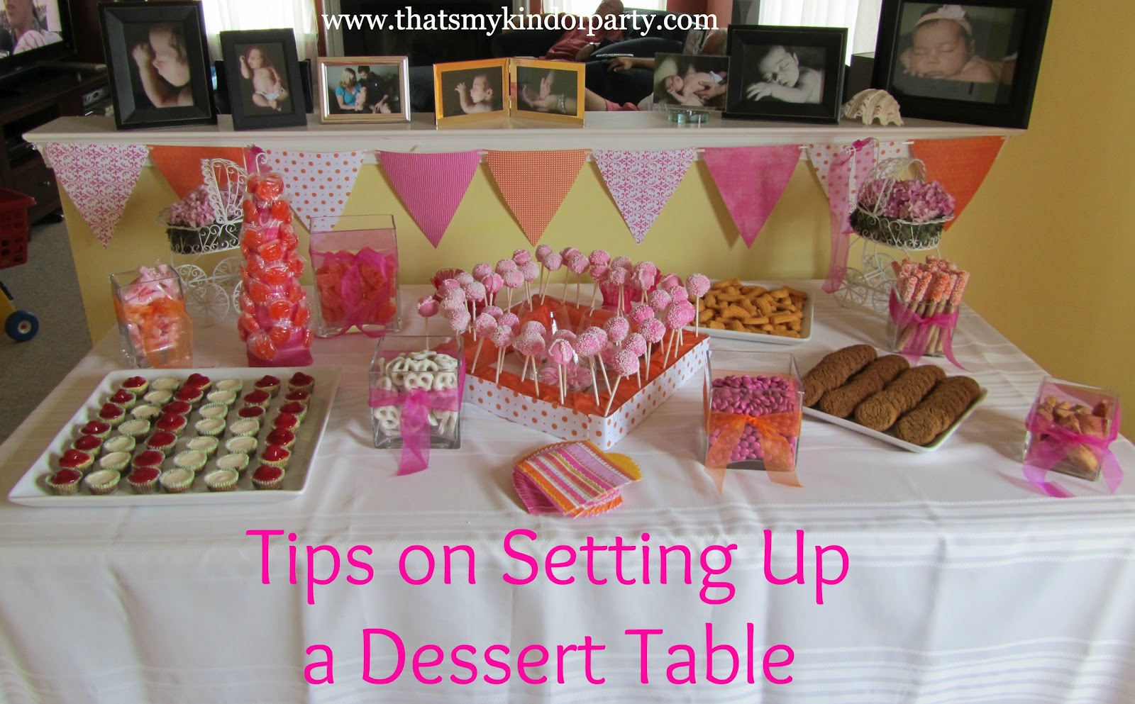 That's My Kind Of Party: How To Set Up A Dessert Table. Full resolution  portraiture, nominally Width 1600 Height 993 pixels, portraiture with #AF1C6F.