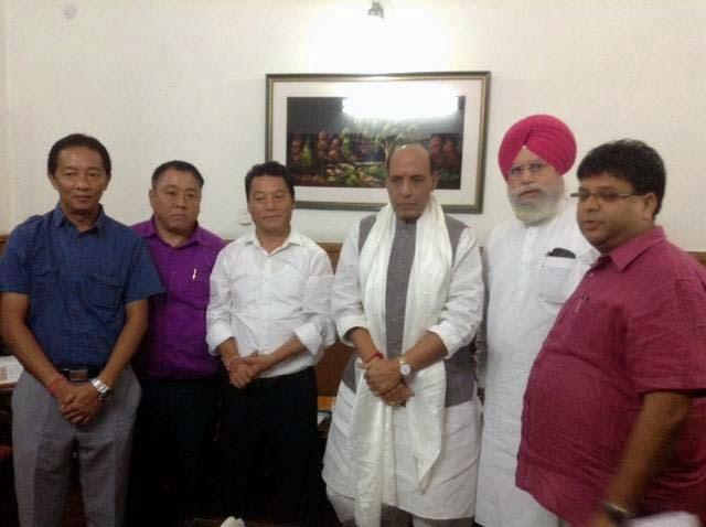 GJM Delegation led by Bimal Gurung SS Ahluwalia met Rajnath Singh