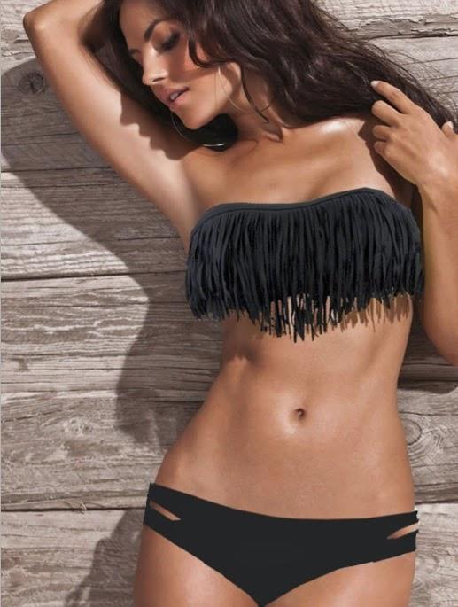 2014 summer Sexy fashion tassels Top Swimwear BIKINIblack Tassel Bandeau Bikini, Bikini Badeanzug Damen Tassel 2014 Sommer 2015 Hot New Quaste Bandeau Bikini  Badeanzug Bademode Gepolsterte Weiß , sexy Bikini