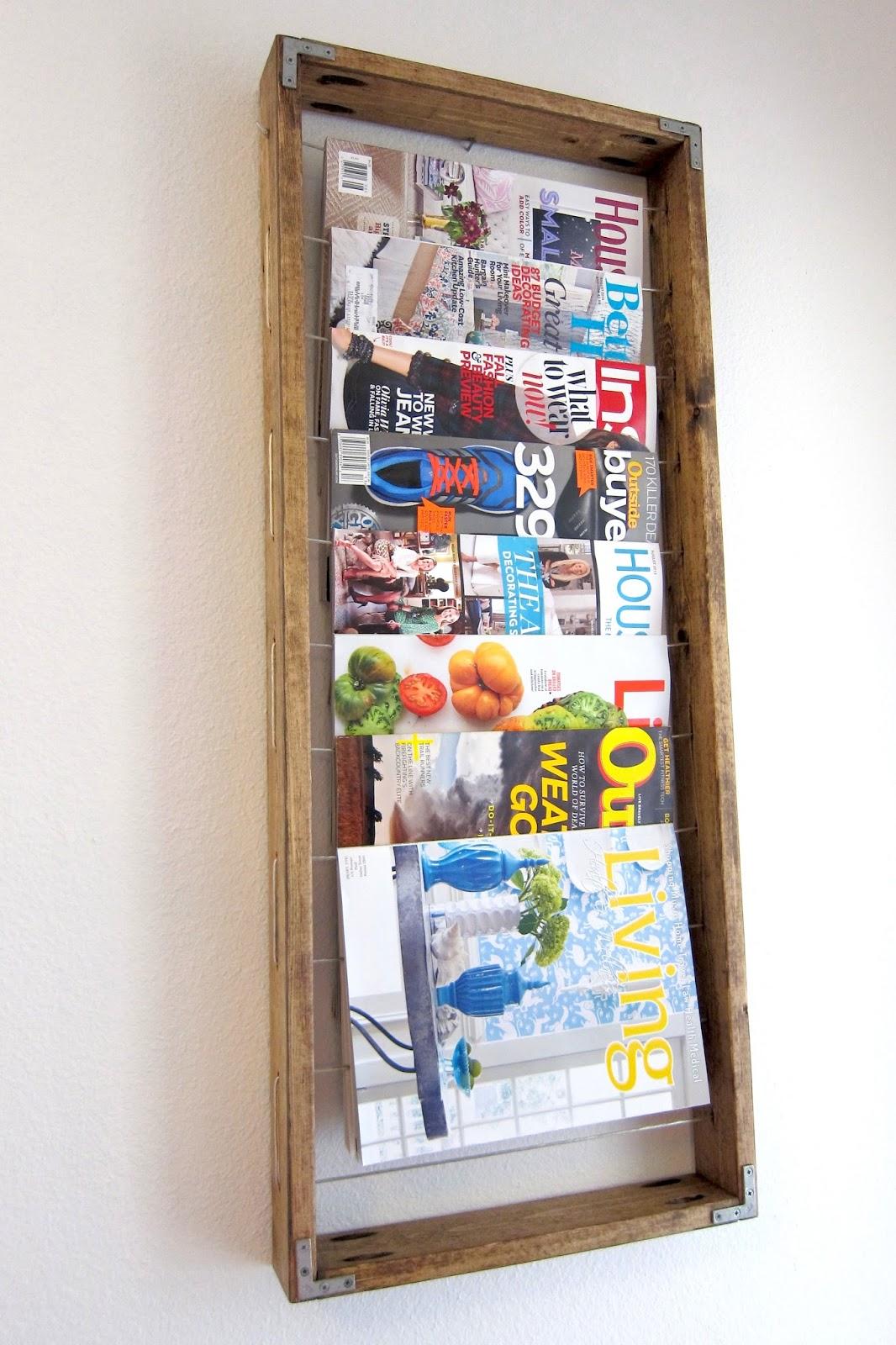 Inspired whims diy magazine rack for Diy magazine rack